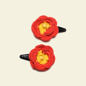Flower Hairclips (Red Yellow)