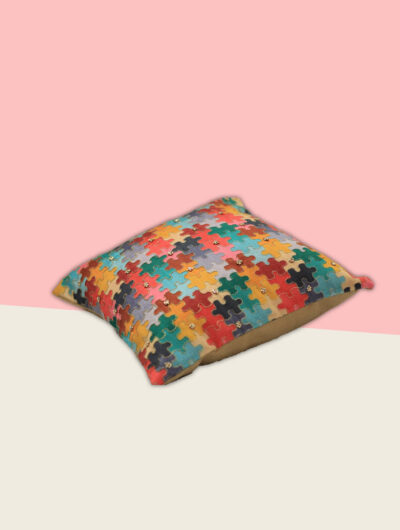 Embroidered Cushion in Multicoloured Puzzle
