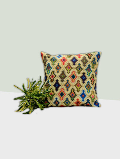 Embroidered Cushion in Multicoloured Rhombus